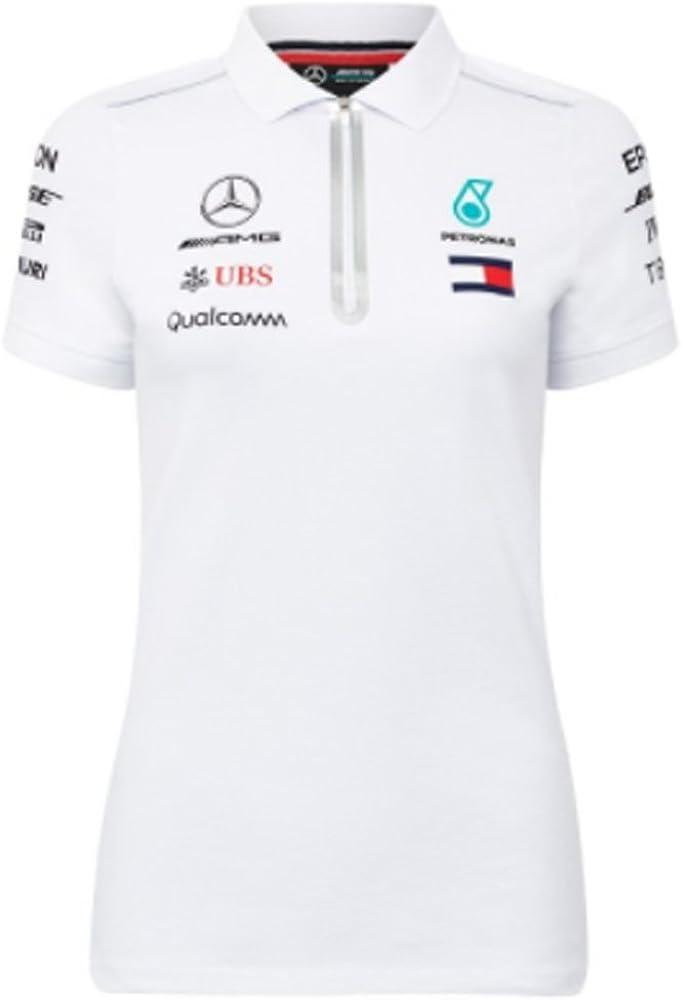 Mercedes AMG F1 Team Driver Puma Mujer Blanco Polo Camisa Oficial ...