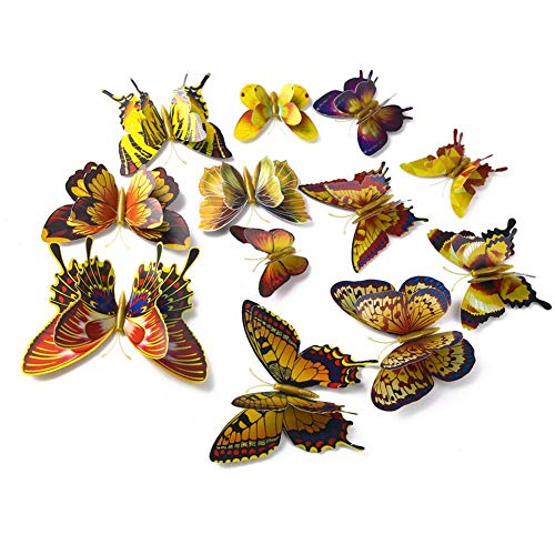 s - 12pcs Set Colorful Bilayer 3d Butterfly Magnetic Refrigerator Stickers Home Decor - Soccer About Chandelier Princesses Cherry Bible Bathroom Urban Verse Moon Joshua Always St