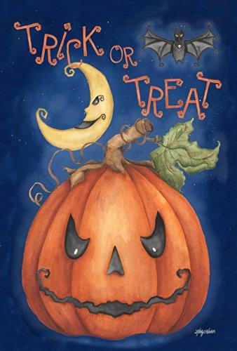 Toland Home Garden Pumpkin Treats 12.5 x 18 Inch Decorative Spooky Trick or Treat Halloween Garden Flag