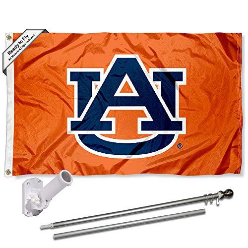 - Auburn Tigers Orange Flag with Pole and Bracket Complete Set