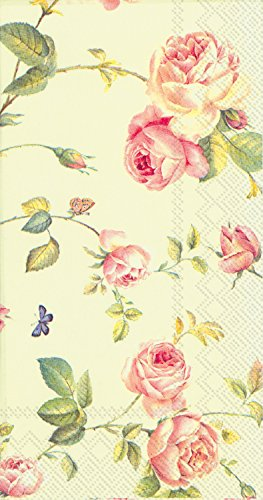 Celebrate the Home New Rambling Rose3-Ply Paper Guest Towels/Banquet Napkins, 16-Count, Green