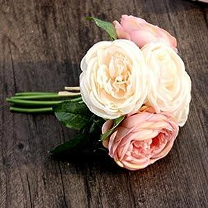 LtrottedJ Artificial Rose Silk Flowers ,5 Flower Head Leaf Garden Decor DIY 2