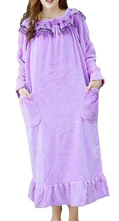 5bc01182aa5d VaeJY Women Winter Flannel Princess Cute Sleep Dress Lounge Nightgowns  Light Purple 2XL