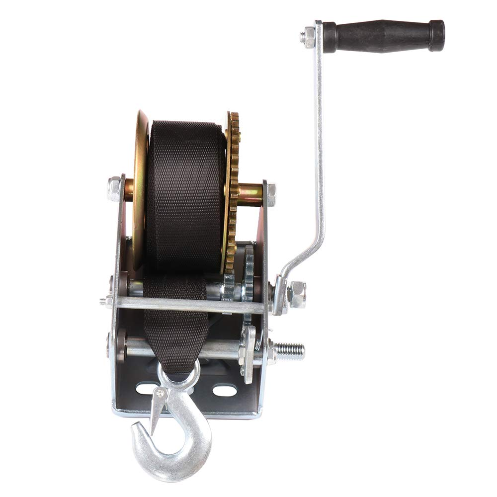 SCITOO Hand Crank Strap Gear Winch 2500 lbs Hand Winches with Nylon Strap for Boat Trailer Auto Manual Lifting Sling Tool