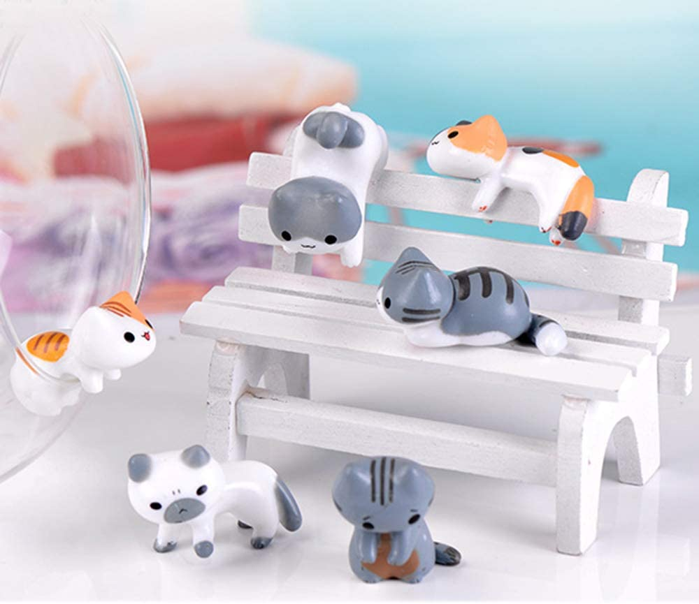 COOLTOP 6pcs Miniature Lucky Cats Dollhouse Bonsai Fairy Garden Micro Landscape DIY Figures for Crafts and Home Decor