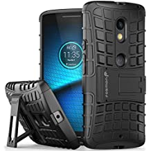 Motorola Moto X Play Case, Fosmon [HYBO-RAGGED] Dual Layer Protection Heavy Duty Hybrid Cover with Built In Kickstand for Moto X Play / DROID MAXX 2 (Black)