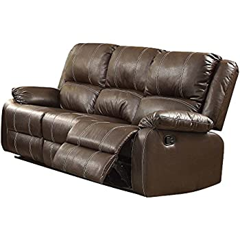 Magnificent Acme Zuriel Brown Faux Leather Reclining Sofa Bralicious Painted Fabric Chair Ideas Braliciousco
