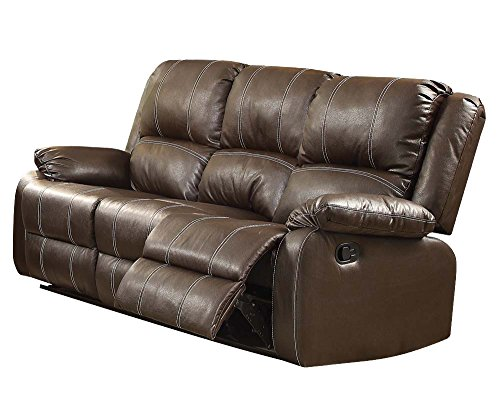 ACME Zuriel Brown Faux Leather Reclining - Leather Loft Sofa Set