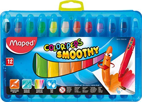 Maped Color'Peps Smoothy Gel Crayons, Assorted Colors, Pack of 12 (836112)