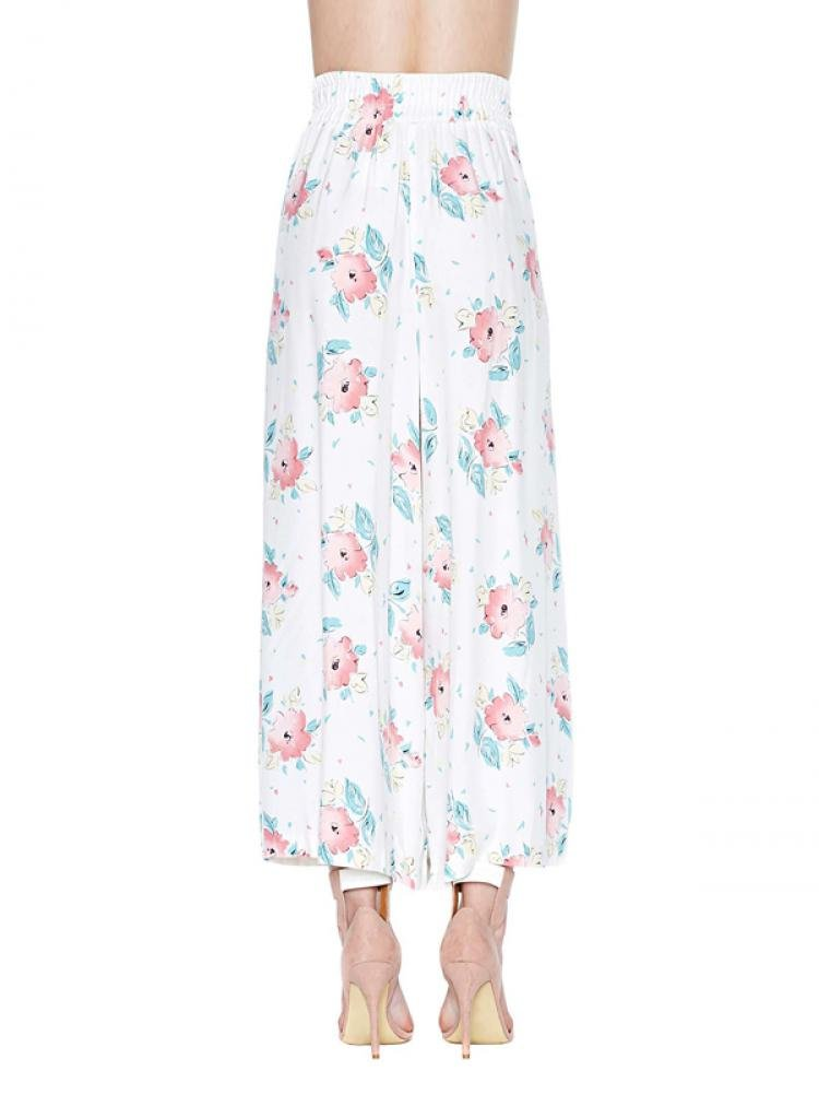 Enlishop Women's White High Waist Wide Leg Floral Print Palazzo Pants Trouser