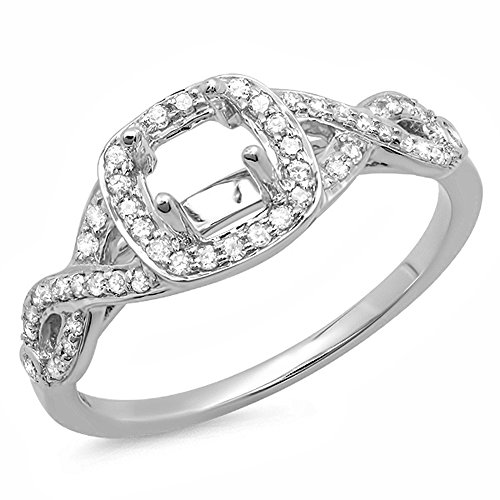 0.25 Carat (ctw) 14K White Gold Round White Diamond Ladies Swirl Engagement Semi-Mount Ring 1/4 CT (No Center Stone) (Size (0.25 Ct Center)