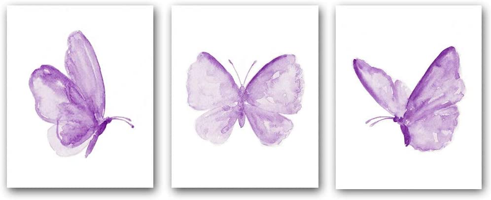 """Set of 3 Butterfly Inspiration Wall Art Print ,Poster with Purple Butterfly,Colorful Butterfly Wall Art Canvas Poster for Girls Bedroom Nursery Home Decor,Gift.(Unframed,8""""X10""""inches)."""