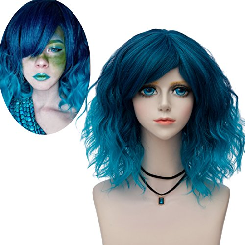 Probeauty Lolita 40CM Short Curly Fashion Women Mixed Brown Anime Cosplay Wig + Wig Cap (Teal Blue F2A) -