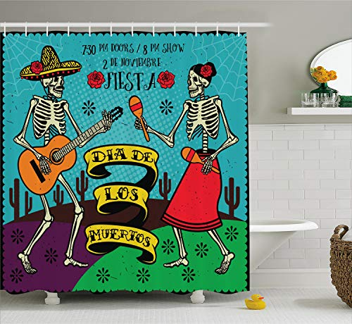 Ambesonne Day of The Dead Decor Shower Curtain, Dia de Los Muertos Festive with Spanish Couple Dancing Image Print, Fabric Bathroom Decor Set with Hooks, 75 Inches Long, Multicolor