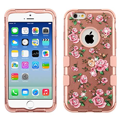 Insten Tuff Roses Dual Layer [Shock Absorbing] Protection Hybrid PC/TPU Rubber Case Cover with Diamond Compatible with Apple iPhone 6/6s, Rose Gold