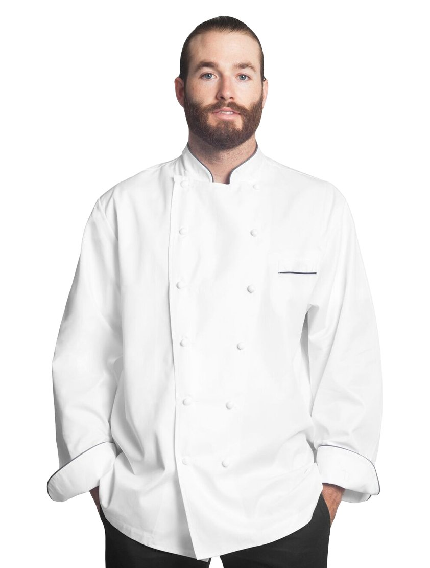 Bragard Exclusive Design Men's perigord Chef Jacket - White With Gray Piping Cotton - Size 40