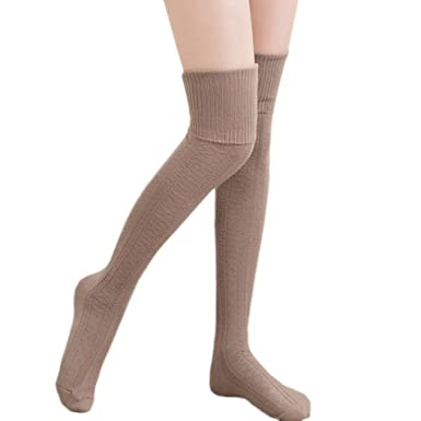 f84abd8a09d Image Unavailable. Image not available for. Color  Kizaen Women Casual Long  Socks Stretchy Cotton Solid Over Knee Thigh High Stocking ...