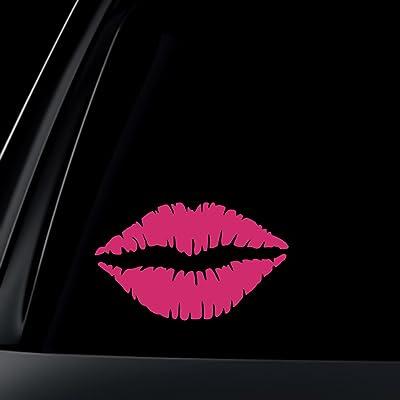 "World Design Kiss Mark Lips Sticker/Decal - 6"" Pink: Automotive"