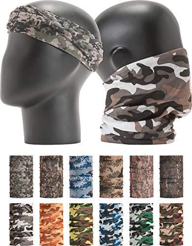 "LEEVO Pattern Bold Multiwear Headband Wrap Scarf Wind Shield Neck Gaiter Bandana (Free Size (18.5"" 9.25""), Camouflage Military No.1+2, 12pcs Total)"