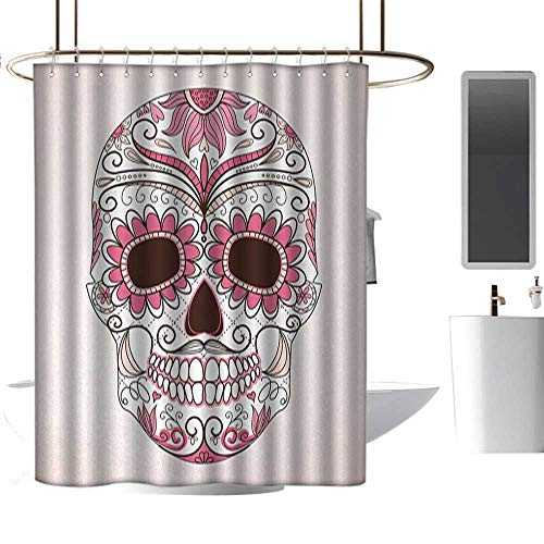 Denruny Shower Curtains for Bathroom with Valance Sugar Skull,Mexican Ornaments Calavera Catrina Inspired Folkloric Art Macabre,Pink Pale Pink White,W48 x L72,Shower Curtain for Girls]()