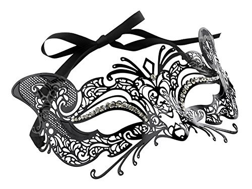 Mysterious Metal Filigree Cat Mask (Black) - Cat Masquerade Mask