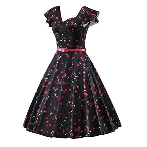 Vintage Cherry Cocktail Imprimé Betusline Mode Féminine Partie Robe Noire