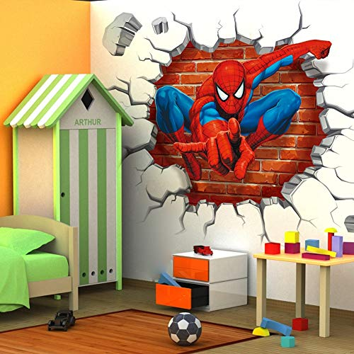 Sophie Jalex Wall Stickers - 4550cm hot 3D Hole Famous Cartoon Movie Spiderman Wall Stickers for Kids Rooms Boys Gifts Through Wall Decals Home Decor Mural 1 ()