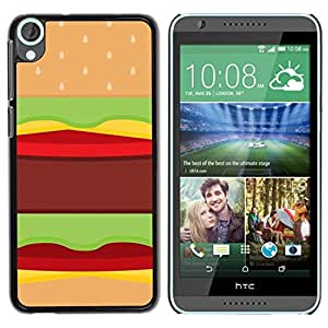 FlareStar Colour Printing Hamburger Fast Food Pop Art Junk Brown cáscara Funda Case Caso de plástico para HTC Desire 820
