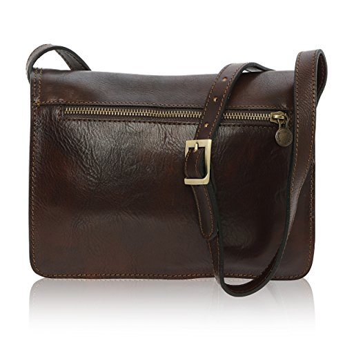 Brown Men's Leather Made 18 7 25 Cm In Dark Genuine Bag Shoulder Florence Cx7rCAqSw