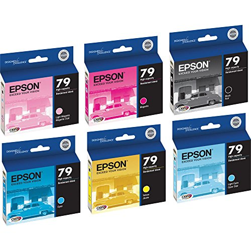 Genuine Epson 79 Black/Color Combo 6 Pack (Full Set) Ink Cartridges T079120, T079220, T079320, T079420, T079520, T079620 for Epson Stylus Photo 1400 and Artisan 1430