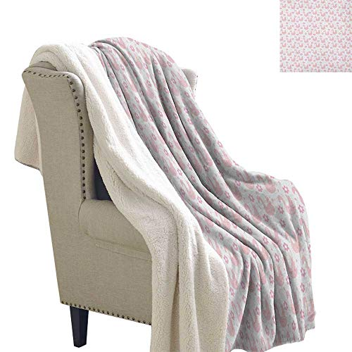 Swan car Blanket Daisies and Little Hearts in Pink with Cute Sleeping Waterfowls Romantic Blanket Small Quilt 60x78 Inch Blush Pale Pink White ()