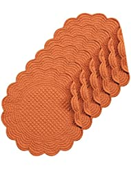 Spice Cotton Quilted Round Reversible Placemat Set of 6