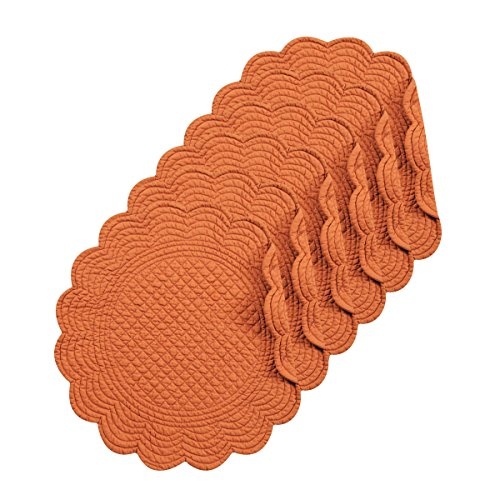 Spice Cotton Quilted Round Reversible Placemat Set of 6 -