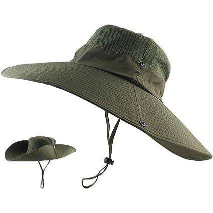c474cad81bc252 ... Brim Sun Hat, UPF 50+ UV Protecton Fishing Hat, Waterproof Bucket Hat,  Summer Outdoor Safari Cowboy Hat for Men Women Hiking Camping Hunting  Adventure