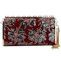 Sequin And Satin Fabric Clutch Bag
