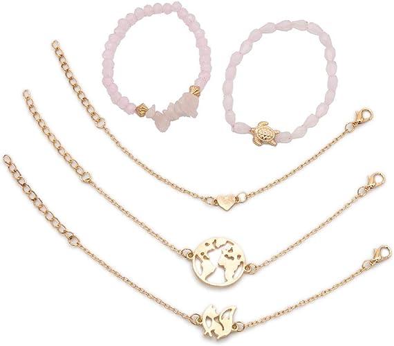 Damas de varios colores con cuentas pulsera de plata con un elefante encanto Idea de Regalo