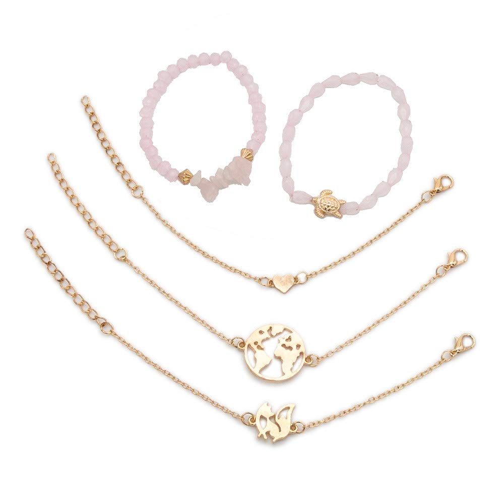 Freeby Layered Bracelet Set Heart Charm Chain Beaded Bracelet Multiple Stackable Wrap Bangle Jewelry Adjustable Pink