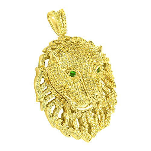 Canary Lab Diamond Iced Out 3D Jungle King Lion Head Emerald Eye Pendant - Gold 14k Charm Lion