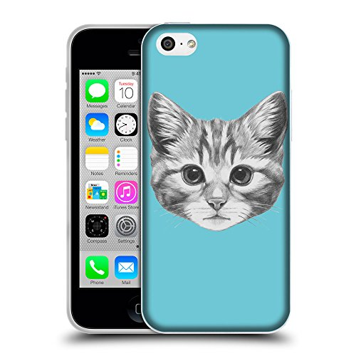 GoGoMobile Coque de Protection TPU Silicone Case pour // Q05140627 Dessin chaton Cyan // Apple iPhone 5C