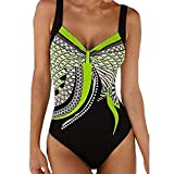 Choosebuy Womens One-Piece Swimsuit Padded Print Bikini Monokini Backless Push-up Bra Bathing Beachwear (Green, S)
