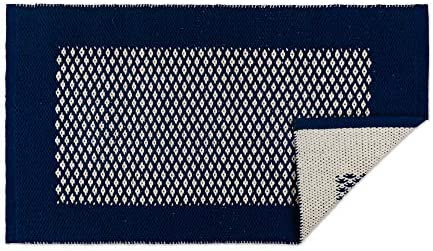 DII Indoor Braided Cotton Handloomed Yarn Dyed Woven Reversible Area Rug for Bedroom, Living Room, Kitchen, 2×3 – Diamond Navy