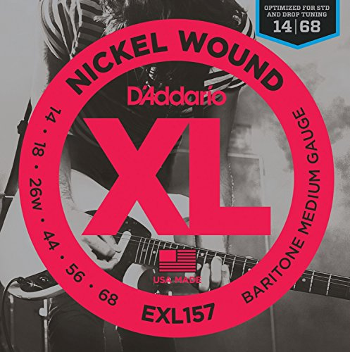 014 Gauge - D'Addario XL Nickel Wound Electric Guitar Strings, Barritone Medium Gauge - Round Wound with Nickel-Plated Steel for Long Lasting Distinctive Bright Tone and Excellent Intonation - 14-68, 1 Set