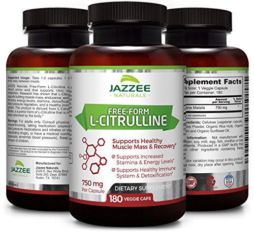 Free Form L Citrulline Malate | 750 mg | 180 Veggie Capsules | up to 6 Month Supply | Vegetarian/Vegan | Stabilized Organically | Supports Endurance, Stamina, and Energy