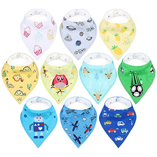 10-Pack Baby Bibs, Unisex Bandana Drool Burp Cloths for Feeding and Teething, 100% Organic Cotton, Special Pattern, 2 Nickel-Free Snaps, Absorbent and Hypoallergenic Shower Gift for Infant Boy & Girl ()