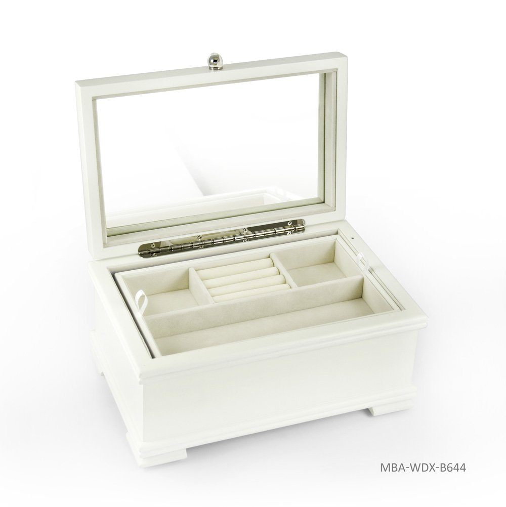 Contemporary 18 Note Matte White Musical Jewelry Box with Lift-Up Tray - There is No Business Like Show Business by MusicBoxAttic (Image #4)