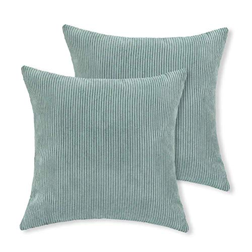 Aitliving 2 pcs Pack Pillow Cushion Covers Corduroy Throw Pillow Cases Covers, Super Soft Striped Both Sides, 18 X 18 Inch, Sterling Blue, 45 X 45cm