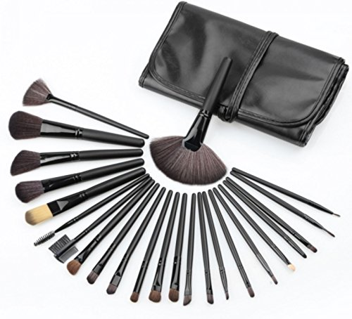 24pcs Nylon Bristle Wooden Handle Portable Mini Makeup Brush Set Black [US Warehouse] by - Warehouse Nye