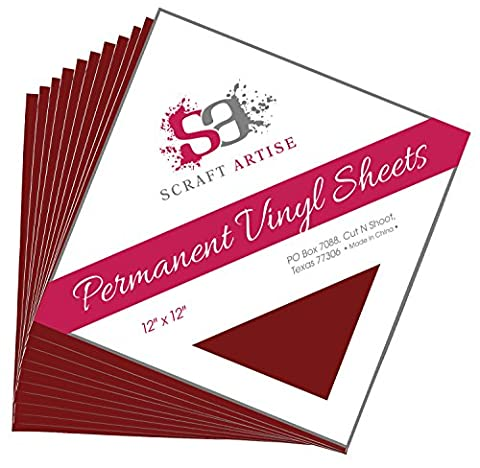 12x12 Permanent Vinyl, 10 Pack Maroon Outdoor Adhesive Backed Craft Sheets in Matte Finish for Silhouette and Cricut to Make Monograms Stickers Decals and Signs by Scraft (Scan N Cut Sticker)