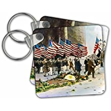 3dRose Scenes from the Past Magic Lantern Slides - WWI Veteran Parade Vintage American Flags - Key Chains