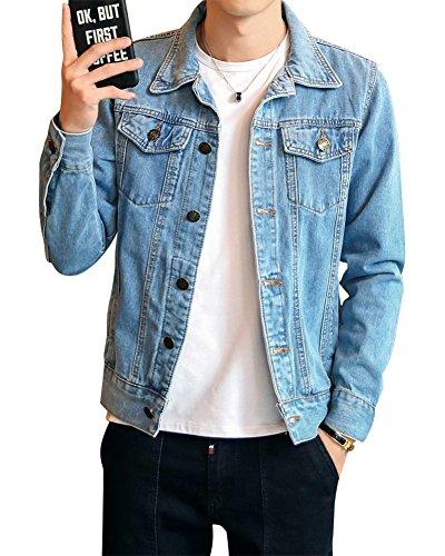 Clair Denim Loisirs Jacket Manteau Fit Bleu Manche Veste En Slim Homme Longue Jean qgW76UptZ